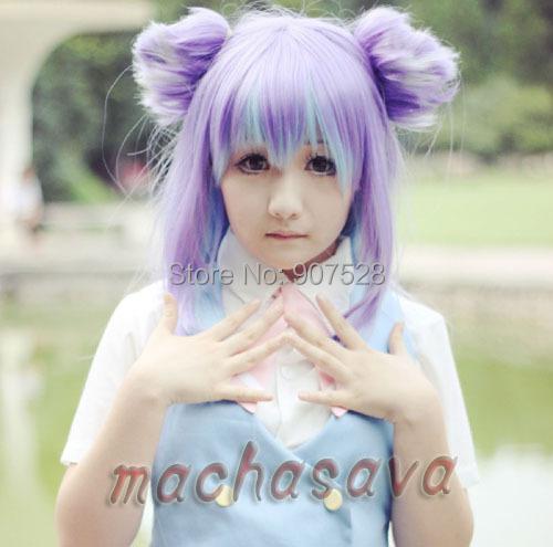 Acchi Acchi Kocchi Miniwa Tsumiki Cos Anime Cosplay pelucas del traje Gradient mezcla azul púrpura 150 cm pelo largo peluca llena + casquillo de la peluca libre(China (Mainland))