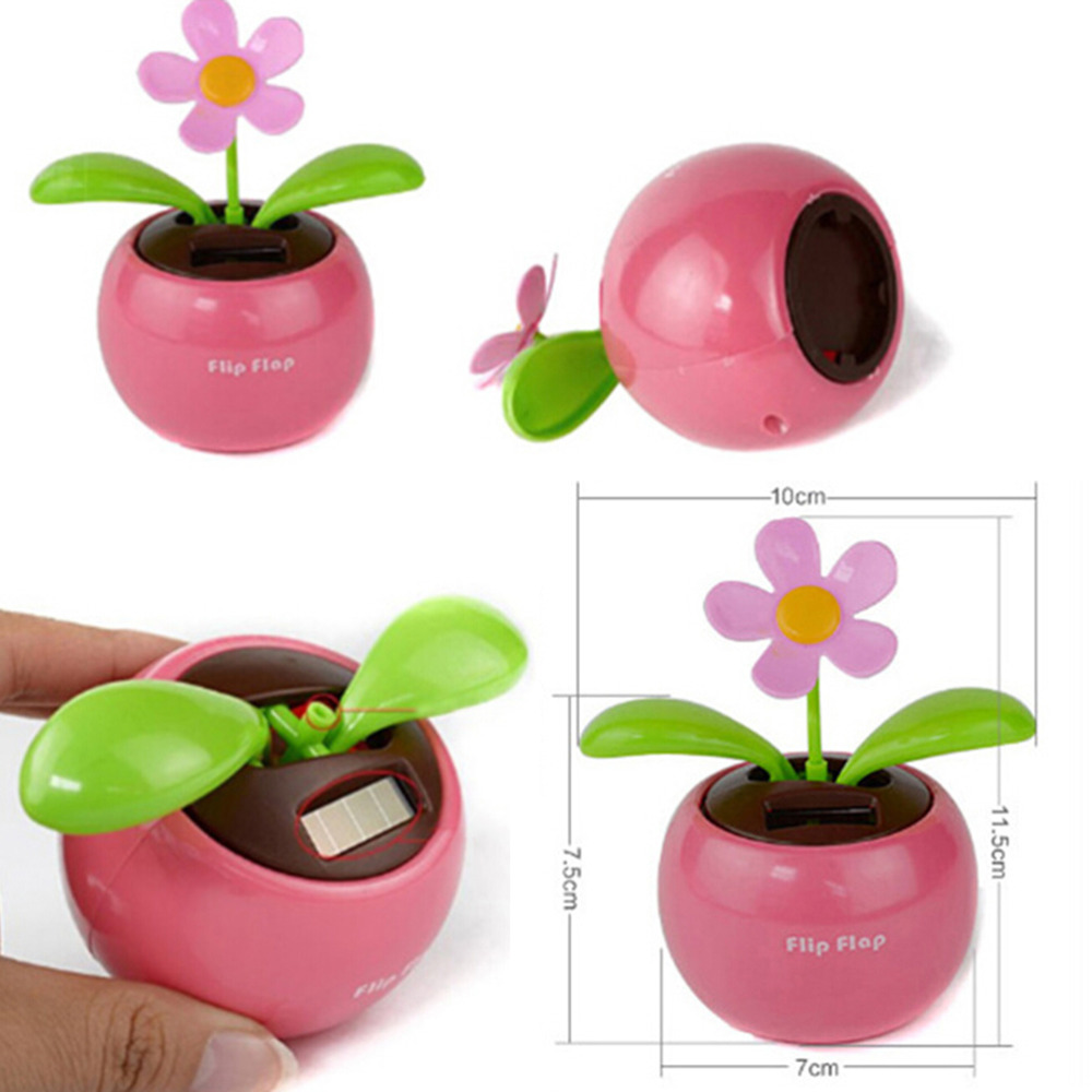 Home Car Flowerpot Solar Power Flip Flap Flower Plant Swing Auto Dance Toy Colors Random(China (Mainland))