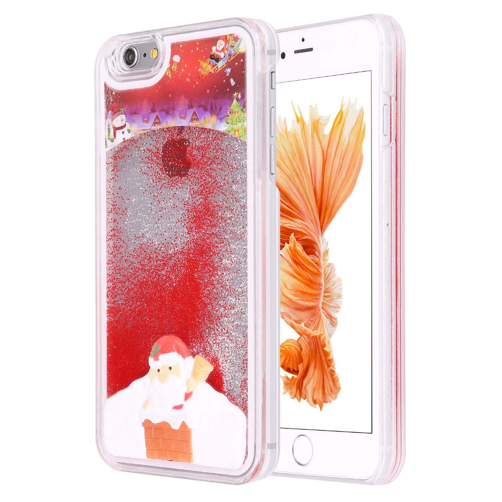 Santa Claus Glitter Star Flowing Liquid Case for iphone 6Plus Christmas tree Clear Covers Phone Cases(China (Mainland))