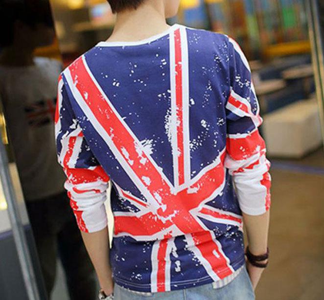 2015 New Spring Mens Union Jack T Shirt Casual Long Sleeve Men T Shirts Stylish British Flag Print Letter Man Slim fit Tee,FA091(China (Mainland))