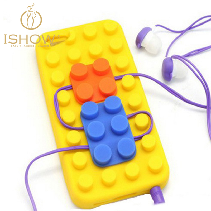 Cute Silicone Functional Anti-knock Soft Phone Case for Iphone5/5s Lego Blocks Style Cover&Case Earphone Cable Concentrator(China (Mainland))