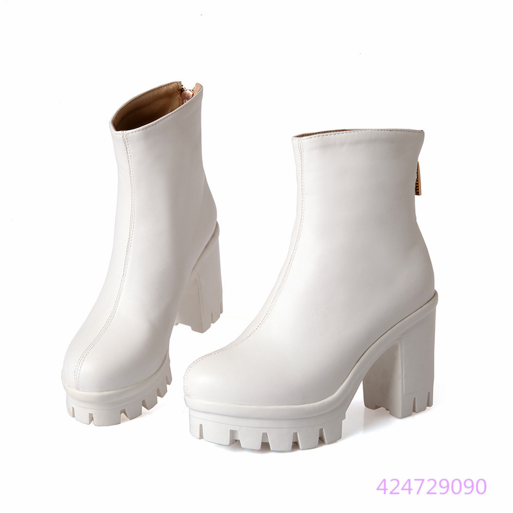 Womens Design Simple Fashion High Rough Heel Shoes Mid Calf Boots US Size 2-10.5 B1213(China (Mainland))