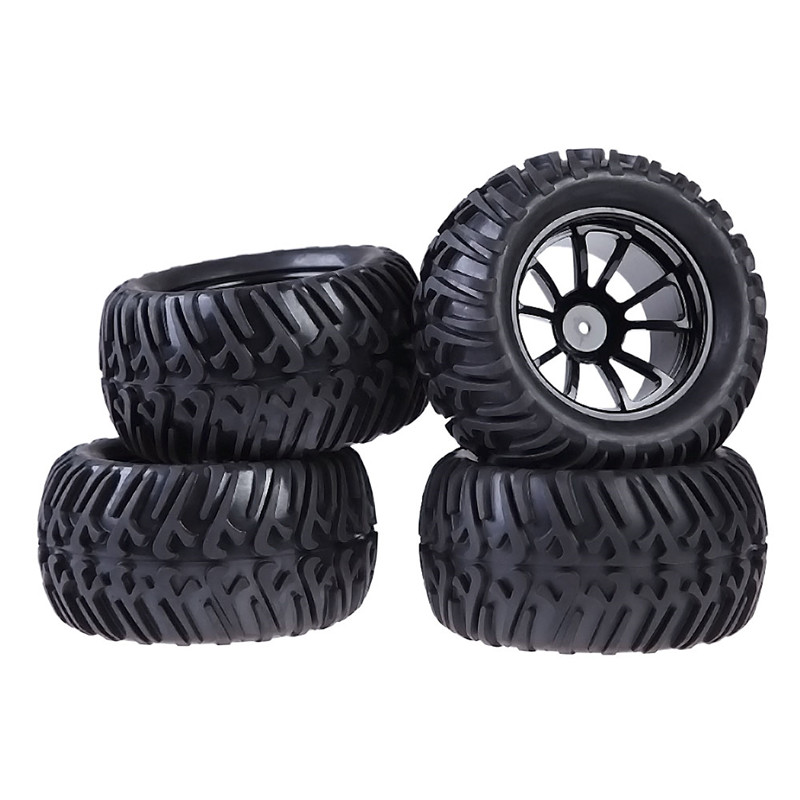 BS#S New 4PCS Plastic Wheel Rim and Rubber Tires For HSP 1:10 Monster Truck RC Car 12mm Hub Free Shipping(China (Mainland))