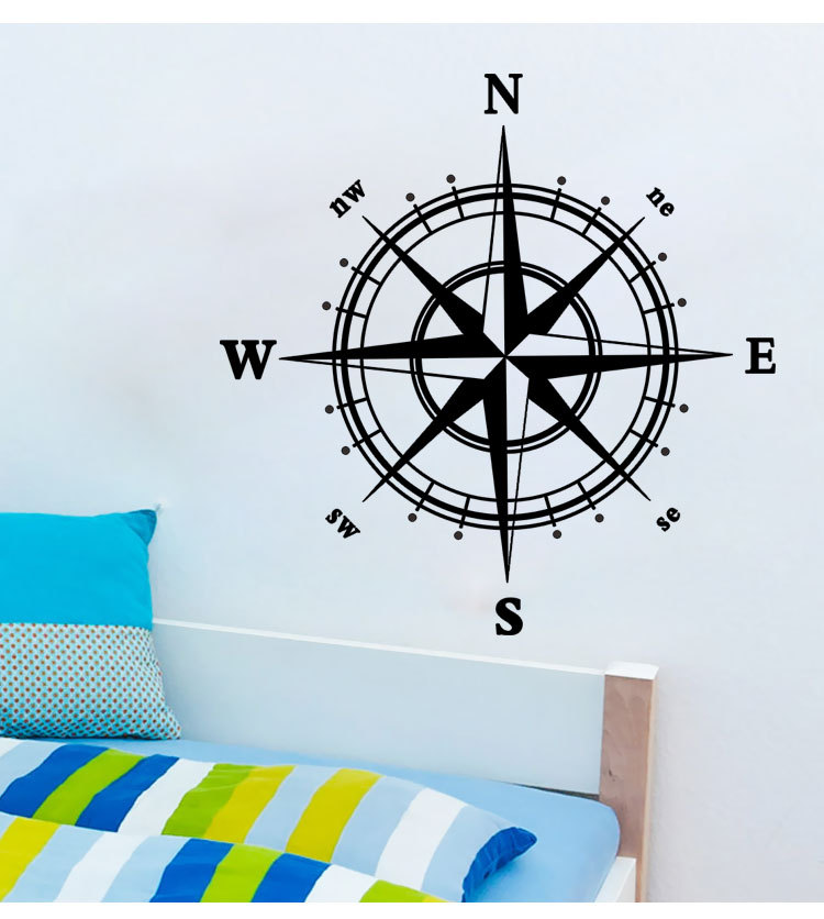 Compass Wall Sticker Modern Vinyl Wall Art Compass Wallpaper Decorative Modern Wall Art Stickers decal home decor Hot Sale(China (Mainland))