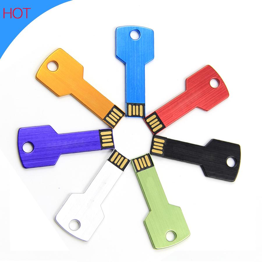 2016 Fashion metal usb flash drive 4gb 8gb 16gb 32gb 64gb pendrive colorful lock key memory stick usb 2.0 memory disk for gift(China (Mainland))