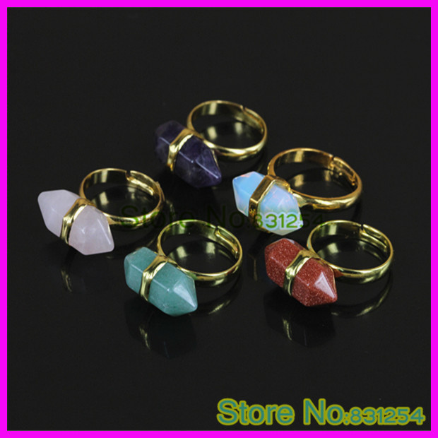 Mixed Color Natural Stone Crystal Agate Hexagonal Finger Ring, Gold Wire Wrap Adjustable Gem Stone Qurtz Ring Jewelry Gifts(China (Mainland))