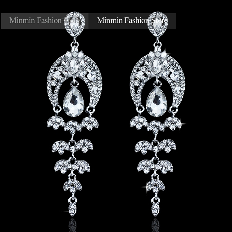 2015 New Arrival Lotus Moon Light Drop Earring Sparkling Glass Crystal Long Earrings for Women Wedding Bridal Earrings EH220(China (Mainland))