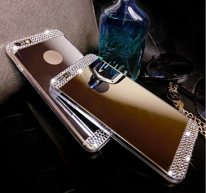 Diamond Crystal rhinestone Mirror TPU Soft Gel Case Cover Skin For Apple iPhone 4 4s 5 5s 6 4.7'' 6 plus 5.5'' inch(China (Mainland))