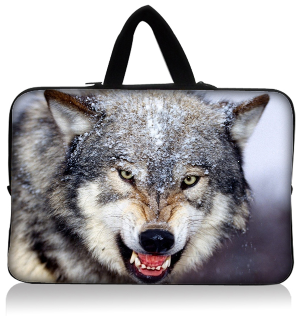 Fashion Cool Wolf Laptop Sleeve Bag Carrying Case Pouch For 11.6 12 12.5 Inch HP Dell Asus Samsung Netbook PC Free Shipping(China (Mainland))
