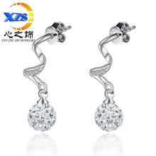 The heart of the decorated silver plated new Earrings 2016 Shambhala ball earrings earrings wholesale Japan anti allergic temper(China (Mainland))