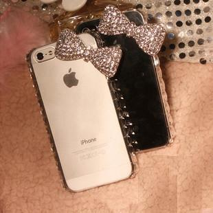2014 3d case for iphone5S 5 4s 4 brief transparent phone shell bling bling case luxury crystal diamond bow frame shell(China (Mainland))
