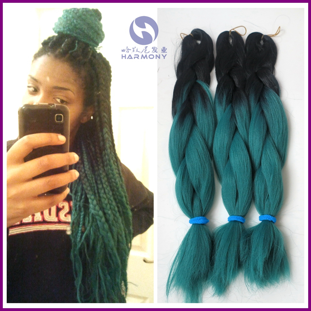 (10ppacks/lot) 24 inch 100g COLORED OMBRE green braiding hair/synthetic 2 tone braids black + dark color - Harmony Fashion hair extension & tools Supply store