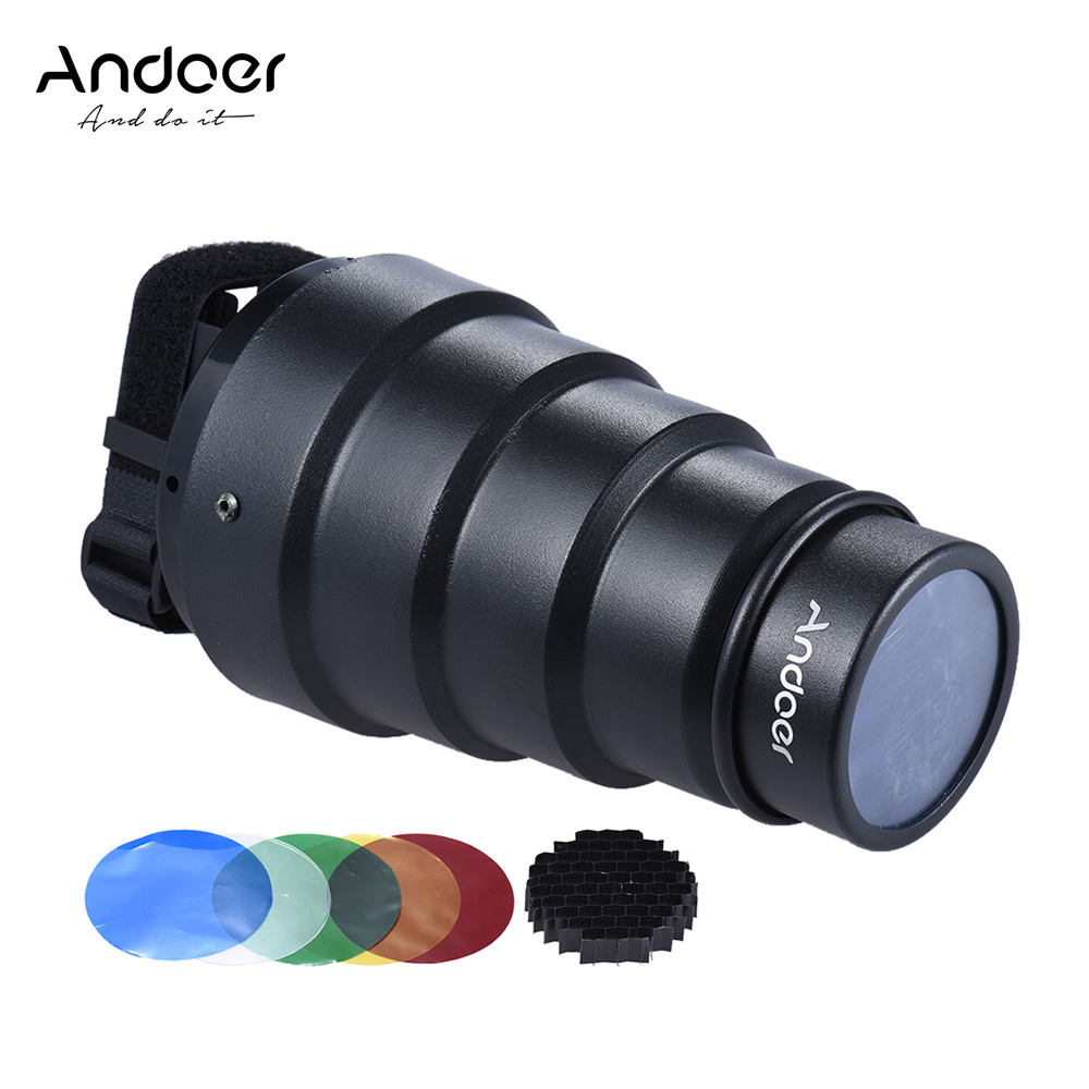 Andoer Conical Flash Snoot Light Modifier with 50 Degree Honeycomb Color Filter for Canon Nikon Photography On-camera Speedlite(China (Mainland))