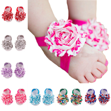 A Pair Of Coloful Flower Baby Infant Barefoot Toddler Foot Flower Band Newborn Girl Sandals Socks Foot Wear(China (Mainland))