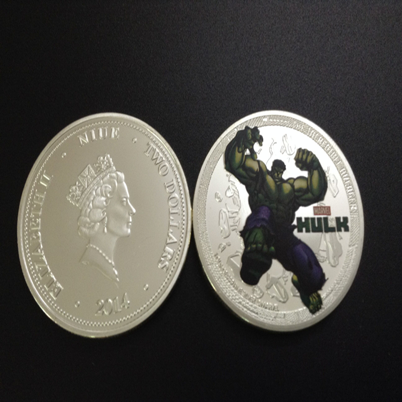 20 pcs/lot Hollywood movie American HULK silver plated Canada souvenir coin Australia gift(China (Mainland))