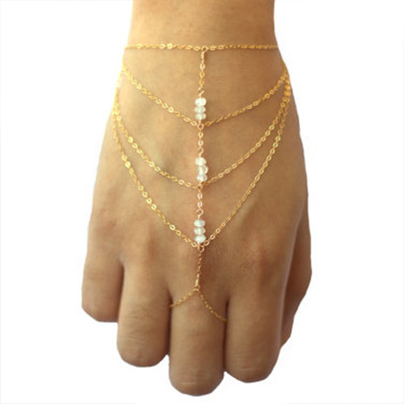Womens Hand Casual Finger Jewelry Gold Plated Multi Layers Tassel Mittens Chains Acrylic Bracelet Bangle(China (Mainland))
