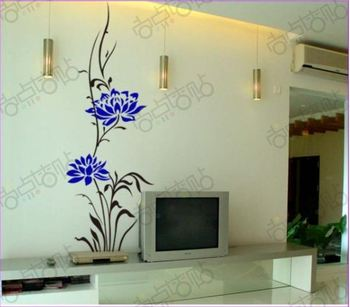 Black Vine Blue Flower Removable Vinyl Art Wall Sticker DIY home Decoration Decals Quotes Drawing Room Decor