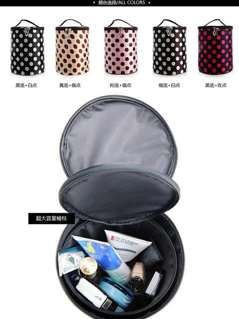 2013 New Arrival Women Makeup Bag Lovely  Dot tubular Cosmetics Bags 2pc/set Multi-purpose Storage Bag Free Shipping J027