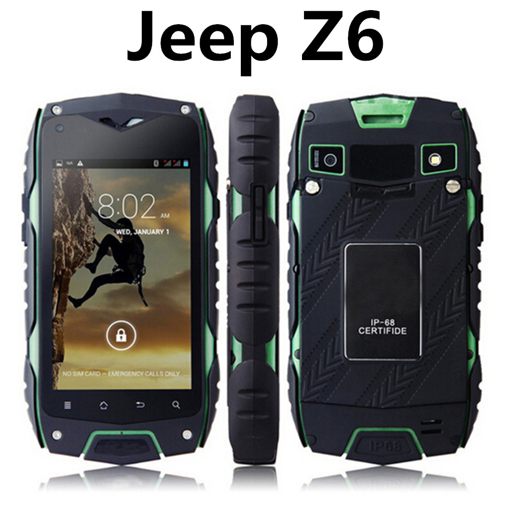 Unlocked original Jeep Z6 MTK6572 Dual Core IPS rugged Smartphone IP68 Waterproof phone GPS Shockproof Android V11 v8 v9 lmv9 z5(China (Mainland))