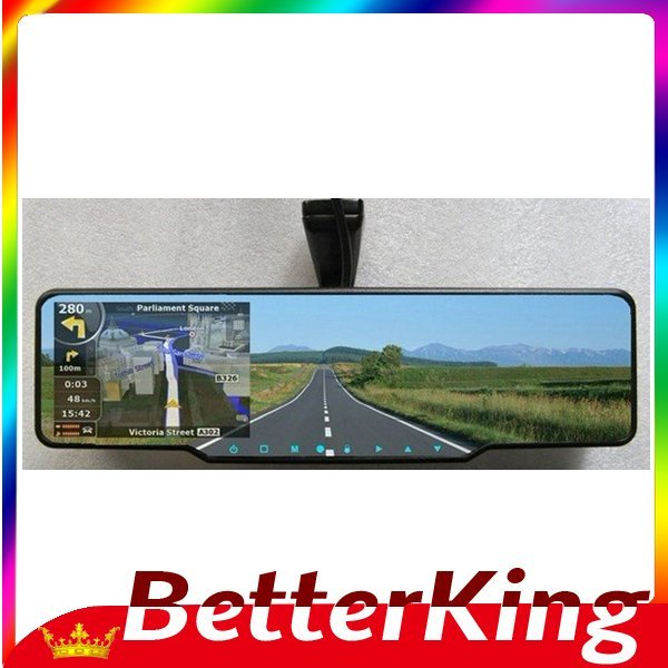 Car DVR,Mirror DVR with rear view mirror + GPS navigation + Bluetooth + Radar detector + Freeshipping