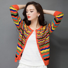 2016 autumn women fashion thin sweater Hollowed out cardigan female silk long-sleeve stripe knitted short design tops clothing(China (Mainland))
