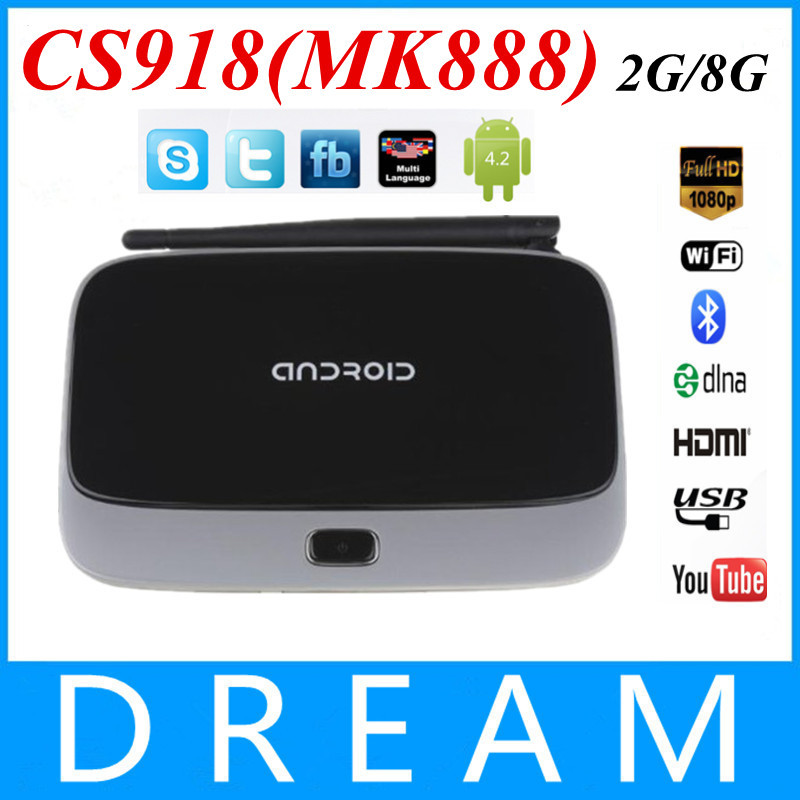 3pcs/lot CS918(MK888/K-R42) Quad Core RK3188 Smart TV Box 2GB/8GB Google Android 4.4.2 Mini PC RJ45 XBMC with Remote Controller(China (Mainland))