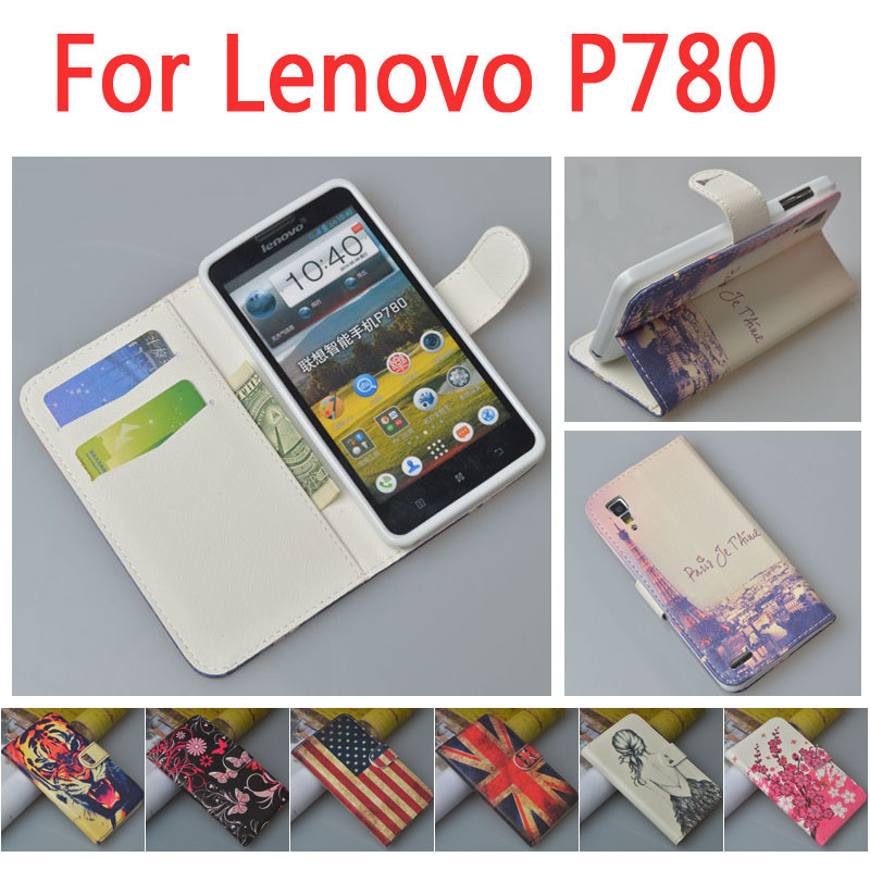 Гаджет  Pattern Leather wallet flip Case For Lenovo p780  Phone Cover with Stand and Card Slots , None Телефоны и Телекоммуникации