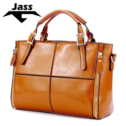 fashion brief fashionable casual classic shoulder bag big bag cowhide leather oil waxing women's genuine leather handbag(China (Mainland))
