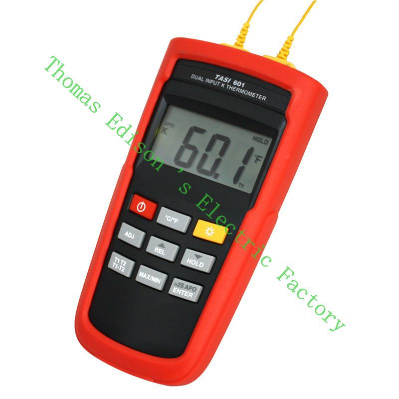 High Quality TASI-601 Range -200 to 1372 Degrees Celsius K-TYPE Dual Channel Thermocouple Thermometer Adjust thermocouple offset<br><br>Aliexpress