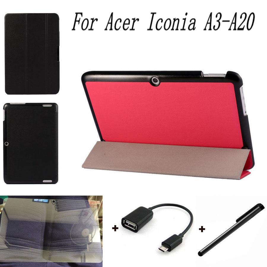 4 in 1 for Acer Iconia A3-A20 Stand Folding Cases Flip Leather for Acer A3 A20 10.1 inch Tablet Case+Screen Film+OTG+Stylus Pen(China (Mainland))
