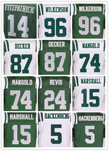 Men's 96 MUHAMMAD WILKERSON 15 BRANDON MARSHALL 14 RYAN FITZPATRICK 87 ERIC DECKER 5 CHRISTIAN HACKENBERG ELITE JERSEY(China (Mainland))