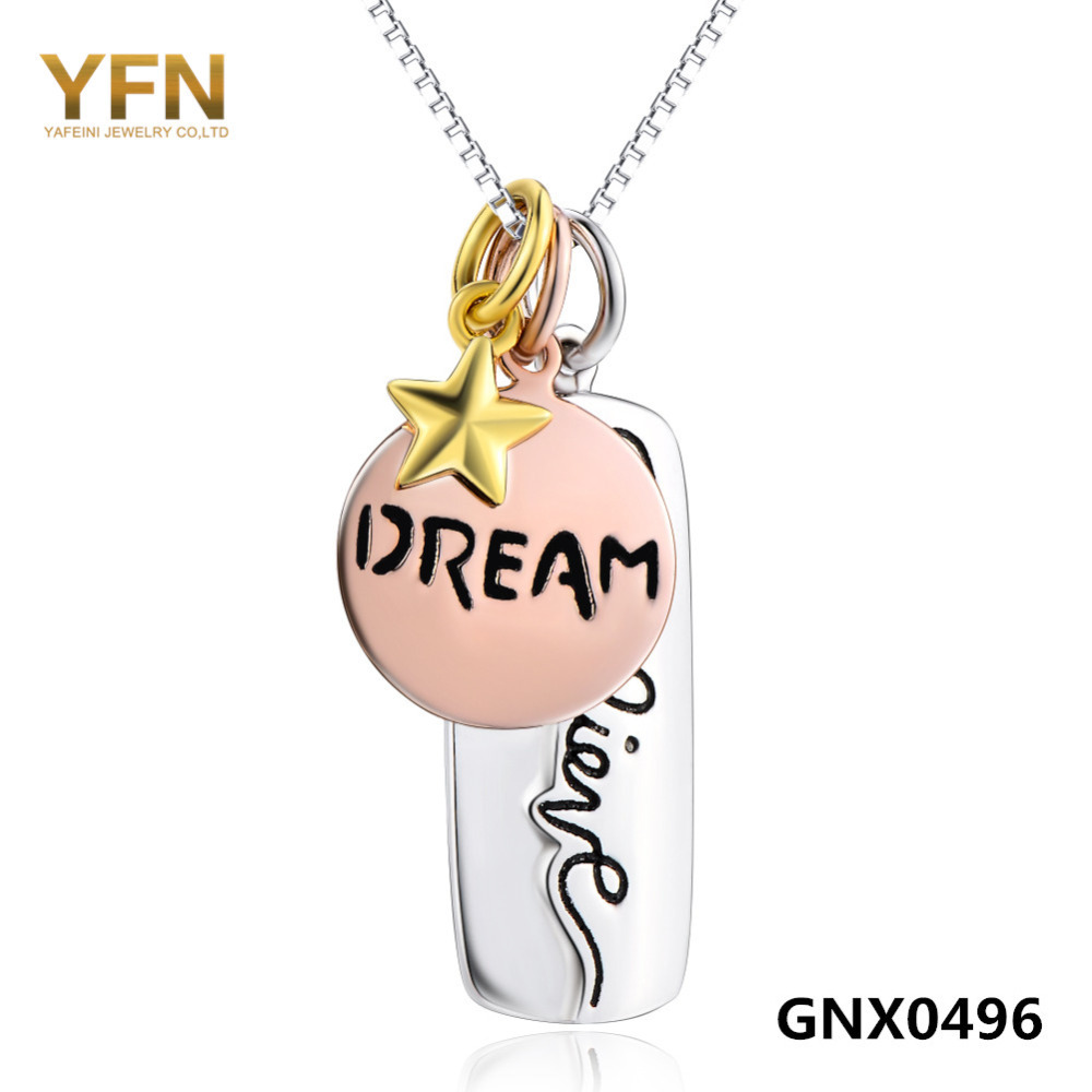 Collares 2015 Genuine 925 Sterling Silver Charms Necklace Believe Dream Star Tri-Col