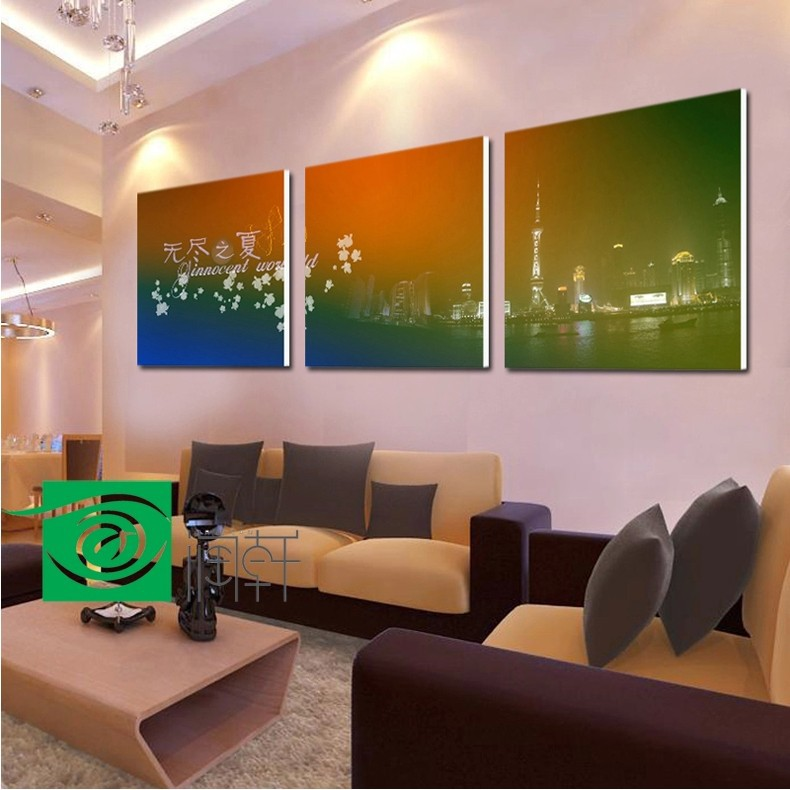 3 piece canvas wall art Scenery picture The night painting room for living room wall pictures for bedroom free shipping(China (Mainland))