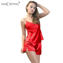 PIJAMA New V-Neck rayon silk women's sleepwear spaghetti strap lace sexy pajama set(China (Mainland))