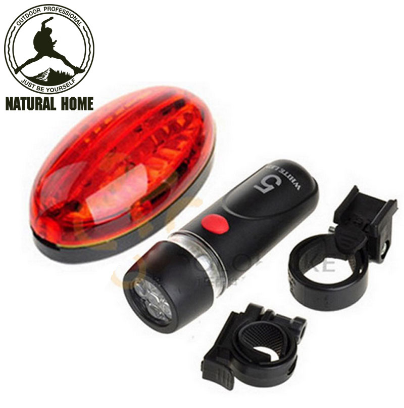 [NaturalHome] Brand Outdoor Bright LED Front Rear Light Traffic signal lights Sport Brand New Bicycle Lights + holder Set(China (Mainland))
