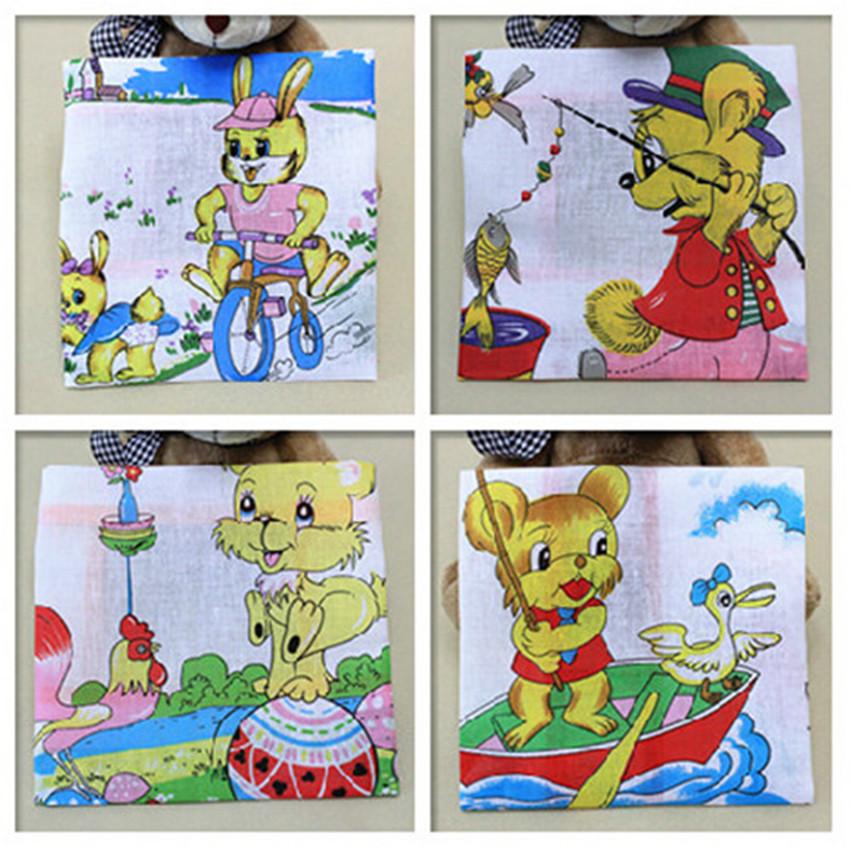 9pcs Kids' Cartoon Handkerchiefs 100% Cotton Pocket Square Hankerchief For Children 25*25cm Vintage Hankies(China (Mainland))