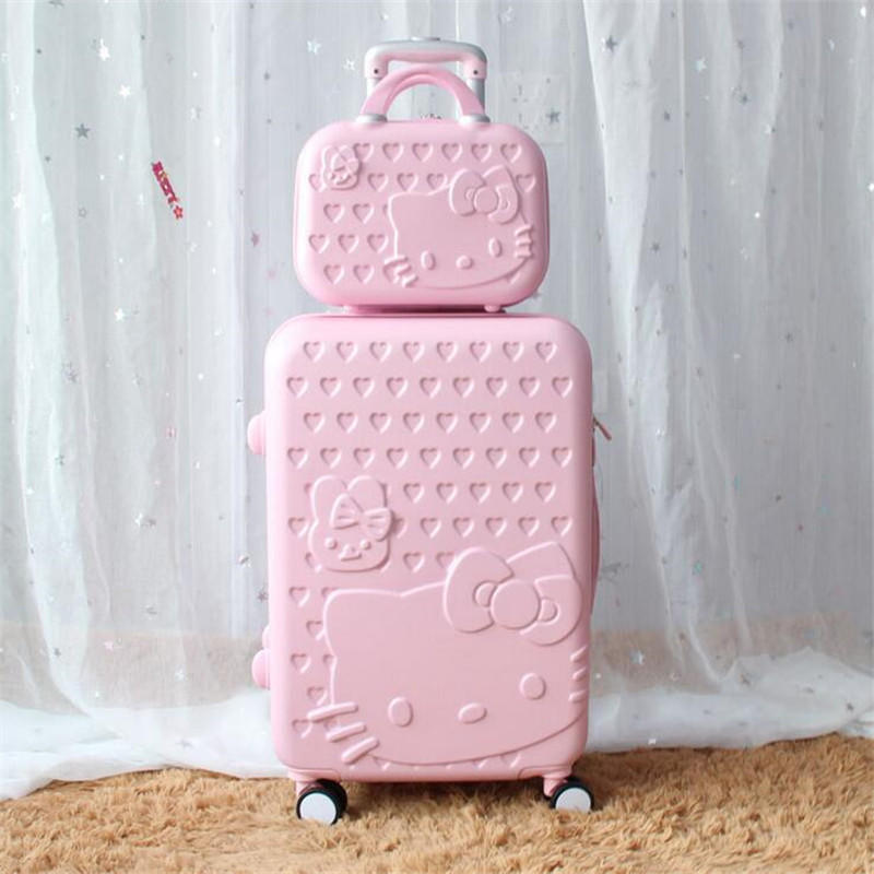 "20""24""28"" Hello Kitty Suitcase Sets,Children Women's KT Luggage,High Quality ABS Box,Colorful Travel Bag,Universal wheel Trolley(China (Mainland))"