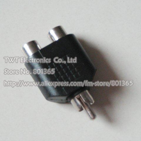 Free shipping RCA Phono 1 Male to 2 female Audio Splitter Adapter 3 RCA Adaptor Splitter Audio AV output adapter 100Qty(China (Mainland))