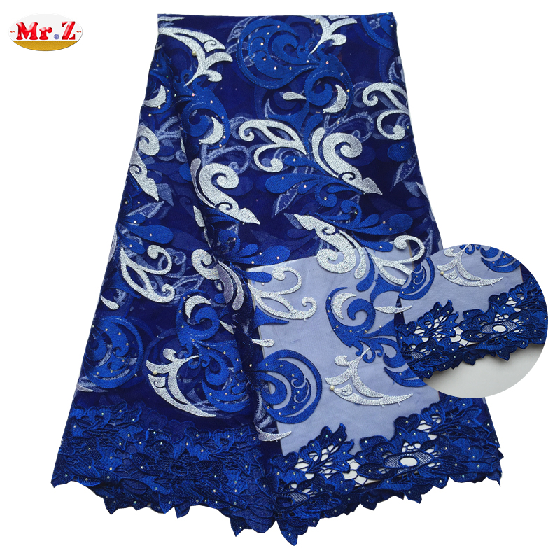 Mr.Z Latest African Cord Lace Fabrics High Quality 2016 Nigerian Cord Lace Fabric For Wedding Royal Blue Cord Lace Fabric N1068(China (Mainland))