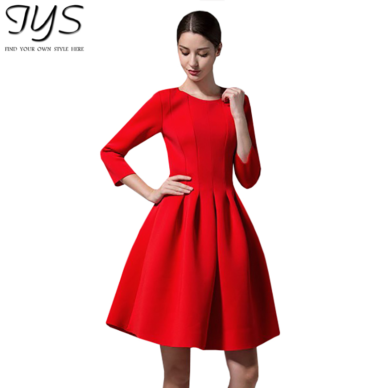 Fashion Style New 2015 Casual Midi Dress Women 39 S Red Black Dresses Evening Elegant 3 4 Sleeve