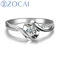 "ZOCAI Encounter ""0.5 Carat Effect"" 0.20 CT Certified Round Cut 18K White Gold (AU750) I-J / SI Diamond Engagement Ring W02534"