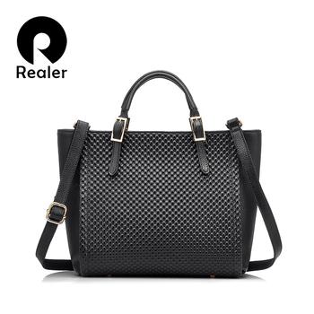 New Realer brand genuine leather tote bags female crossbody bags women handbag 7 colors handbag high quality female Shoulder Bag