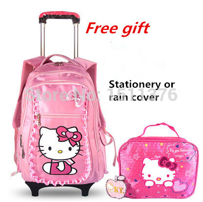 trolley school bags hello kitty mochila infantil escolar suit two primary female child backpack detachable free gift - Friday's Store store
