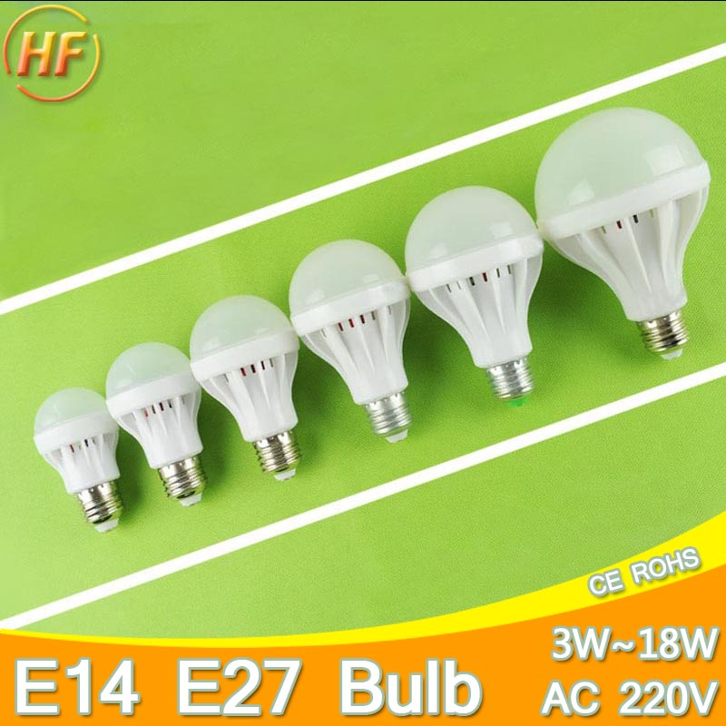 High Bright E14 E27 LED Lamp 220v Ball Bulb LED Light bulb 3W 5W 7W 9W 12W 15W 18W Lampara Bombilla Ampoule spotlight SMD5730(China (Mainland))