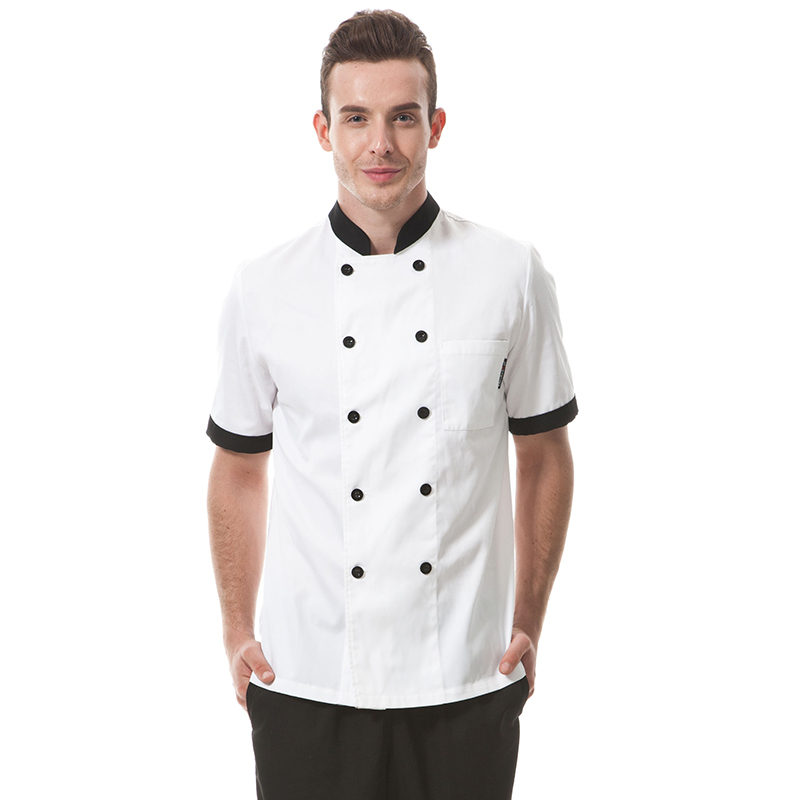 Fahion Restaurant Hotel Kitchen Chef Coats Jackets Uniform Short Sleeves ThickType Fabric White Contrast Black Unisex(China (Mainland))