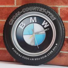 Car logo 3D Fashion Wheel Tyre Black Wall Clock Creative Desk Table Clock Alarm Clock Silent Non-ticking Wall Clock(China (Mainland))