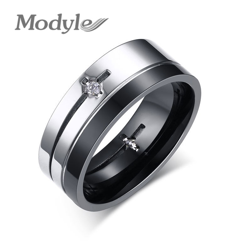 Modyle 8MM Wedding Bands Ring Men Jewelry New Punk Stainless Steel CZ Diamond Rings for Men and Women(China (Mainland))