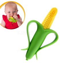 Seguridad respetuoso del medio ambiente mordedor bebé dentición anillo maíz Bendable mordisco de silicona cepillo de dientes mastica dientes de leche se pegan(China (Mainland))