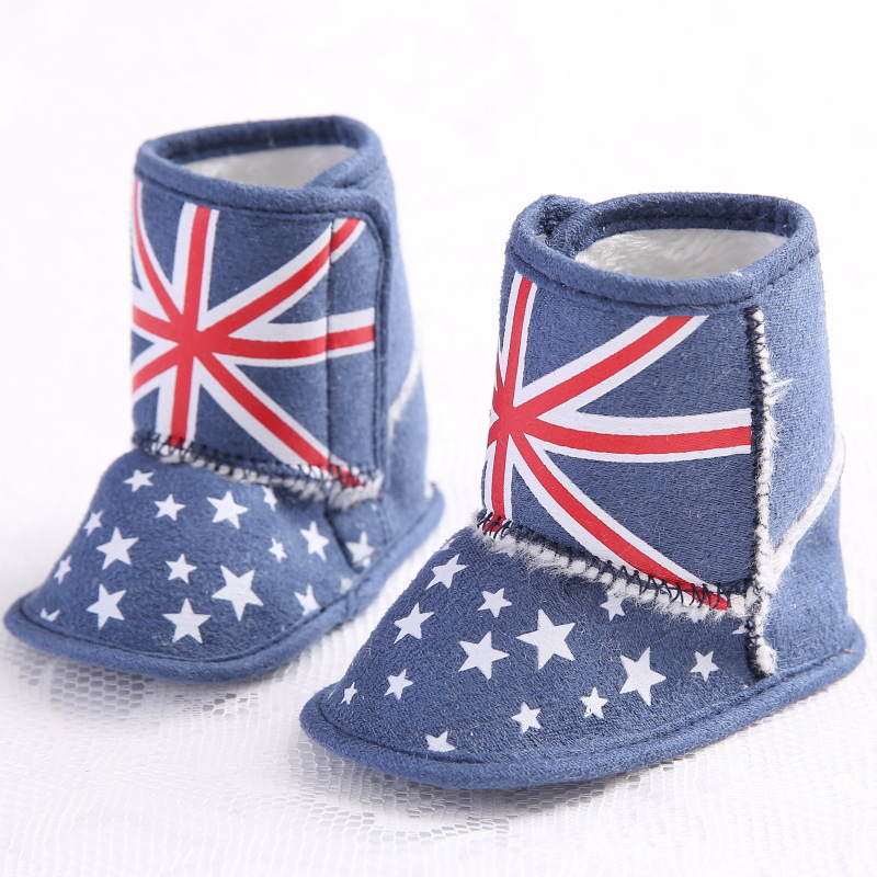 New Blue Fashion Lovely Infant Toddler First Walkers Shoes Newborn Baby Unisex Boys Girls Kids US Flag Boots Booties Footwear(China (Mainland))