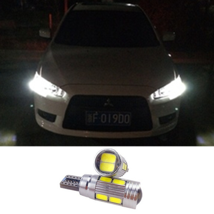 2 X T10 LED W5W Car LED Auto Lamp 12V Light bulbs with Projector Lens for mitsubishi asx Evo V3 Lioncel Galant lancer outlander(China (Mainland))